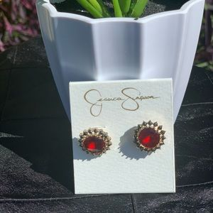 Jessica Simpson; Ruby Red Earrings; Studs